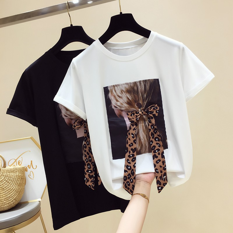 ●[95%] cotton short sleeve T-shirt girl in the summer of 2019 new western style easy printing jacket round collar sh