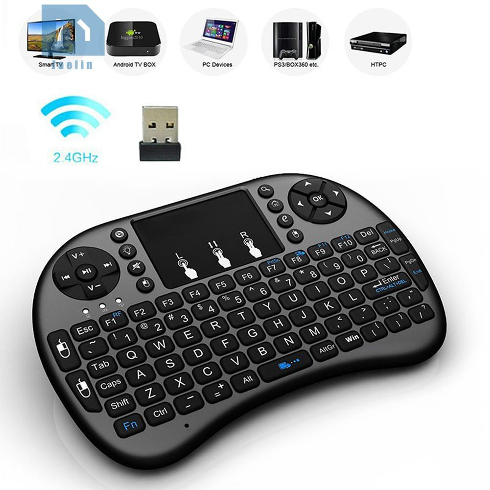 *Jae*2.4G Black Wireless Rechargeable Air Mouse Mini QWERTY Keyboard