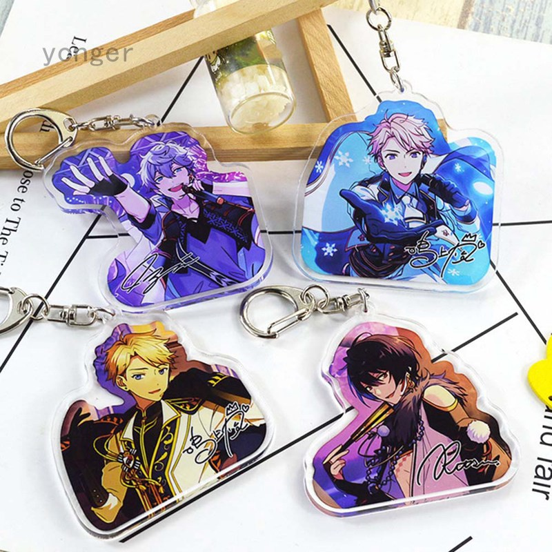 Ensemble Stars Keychain Cute Double Sided Keyrings Valkyrie Trickstar UNDEAD Knights Key Chain