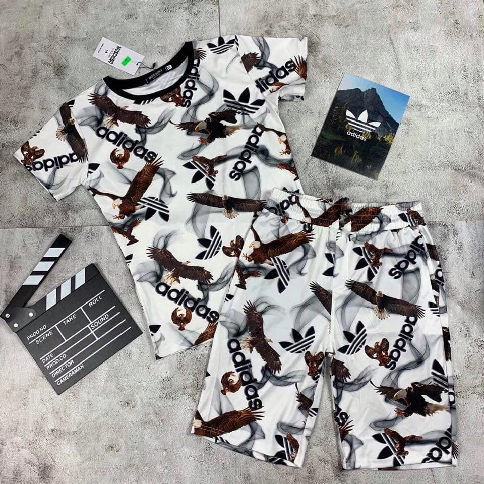 Bộ Thể Thao Nam, Bộ Quần áo thun Cộc tay cổ bẻ chất liệu thun lạnh mềm mịn in Logo - BN34 - Full Size