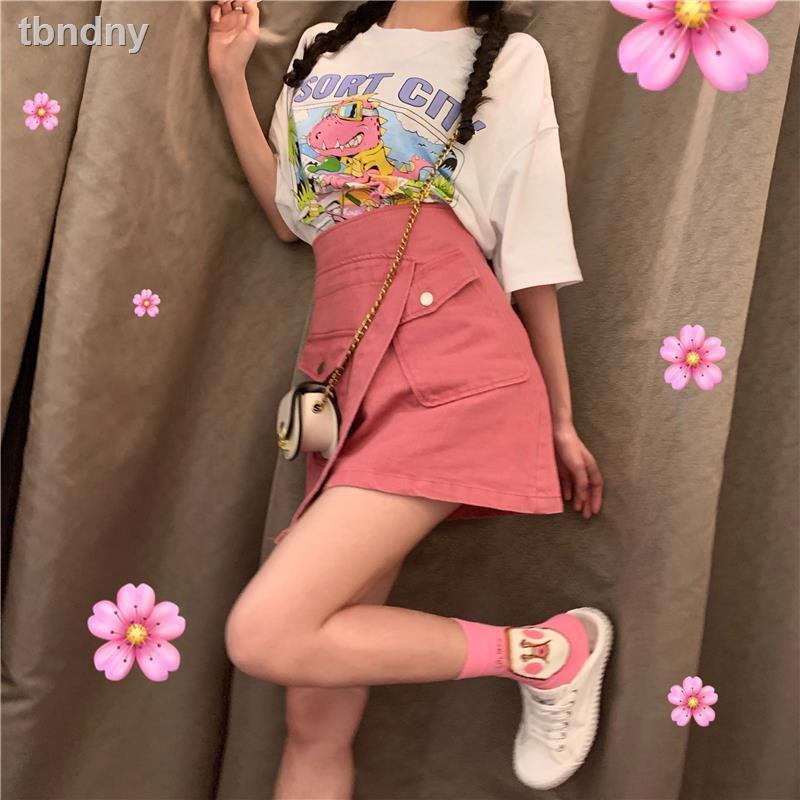 Set Áo Thun Ngắn Tay + Chân Váy Chữ A Lưng Cao Thời Trang Theo Phong Cách Hàn Quốc