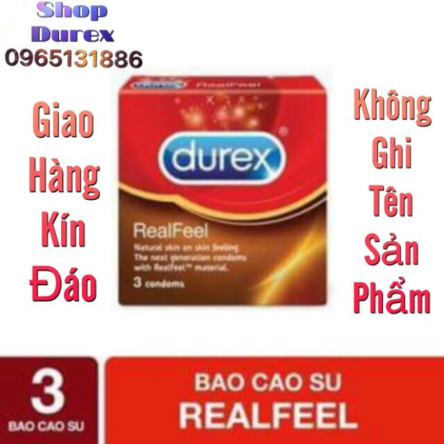(DEAL HOT)Bao cao su Durex Real Feel 3 bao
