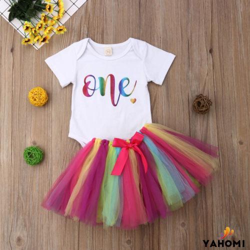 Set áo romper kèm chân váy xòe màu cầu vồng thời trang cho bé gái