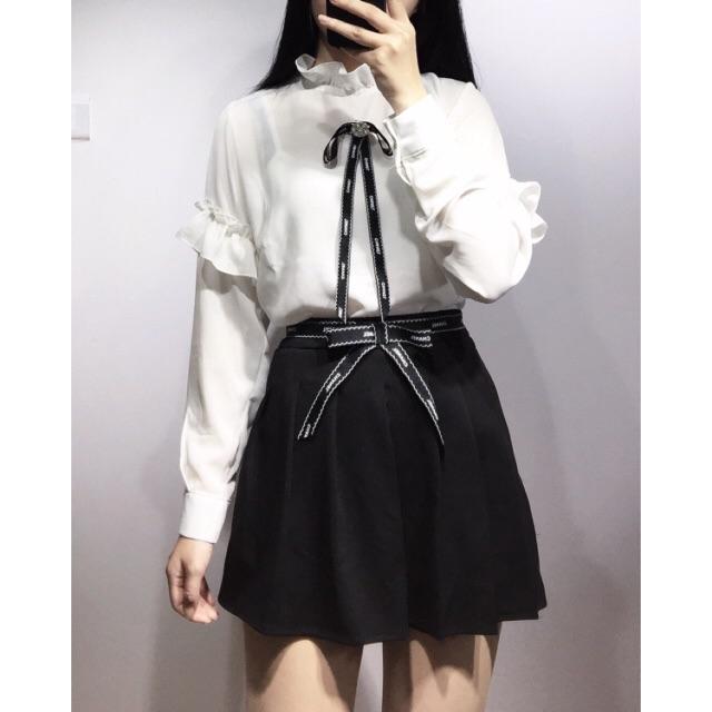 Set Chanel áo sơ mi + chân váy (có quần trong)