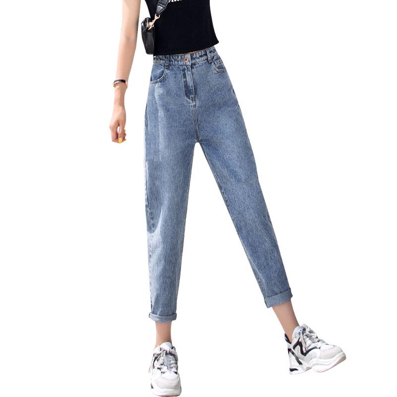 Quần jeans ống rộng 2019 mới cao eo thon chín điểm thẳng chân mỏng củ cải cũ xuân thu