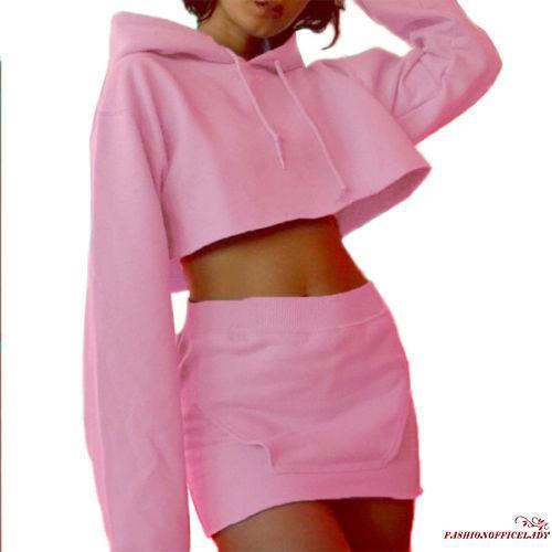 Set áo hoodie và chân váy phong cách thể thao quyến rũ cho nữ