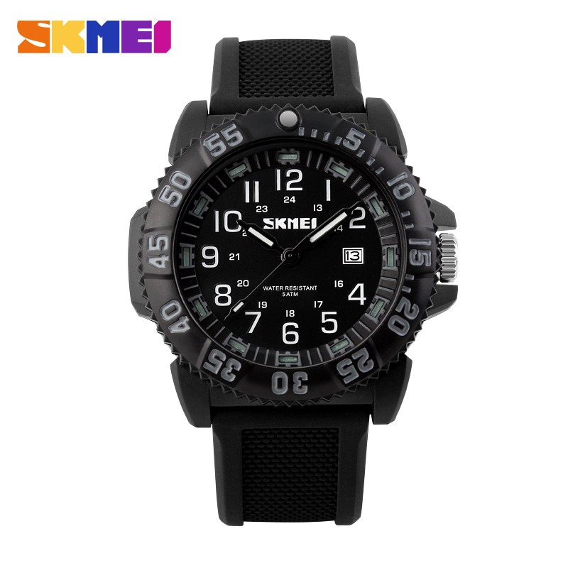 Đồng hồ nam Skmei 1078 dây cao su (Đen viền trắng)
