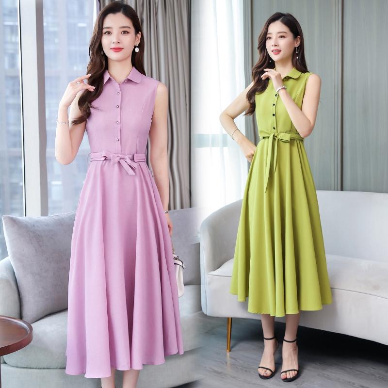 đầm dài màu trơn thời trang hàn quốc