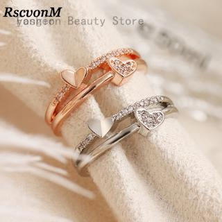 Fashion Women Two Layers Hollow Double Heart Zircon Opening Ring Jewelry Pretty