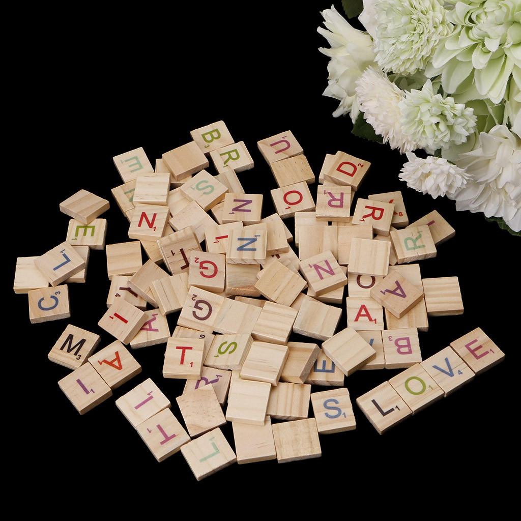 Hình ảnh ST100X Wooden Scrabble Tiles Colorful Letters Numbers For Crafts Wood Alphabet Toy