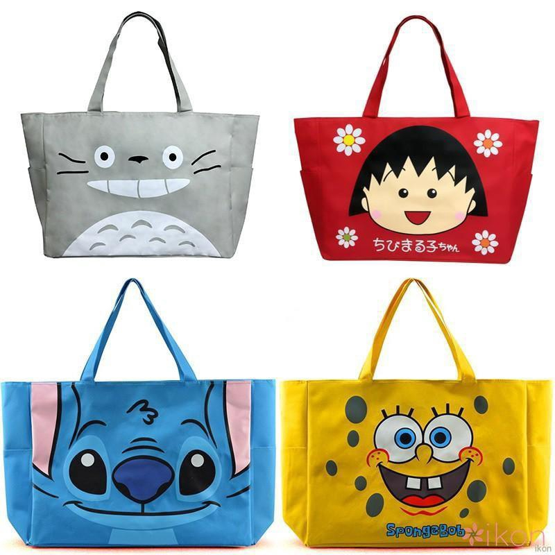 Hình ảnh ikon Women Cute Cartoon Large Capacity Foldable Canvas Shoulderbag