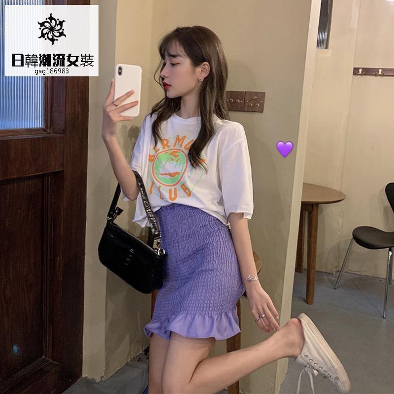 Bộ Áo Thun Dáng Rộng In Chữ + Chân Váy Xếp Ly Phong Cách Hàn Quốc