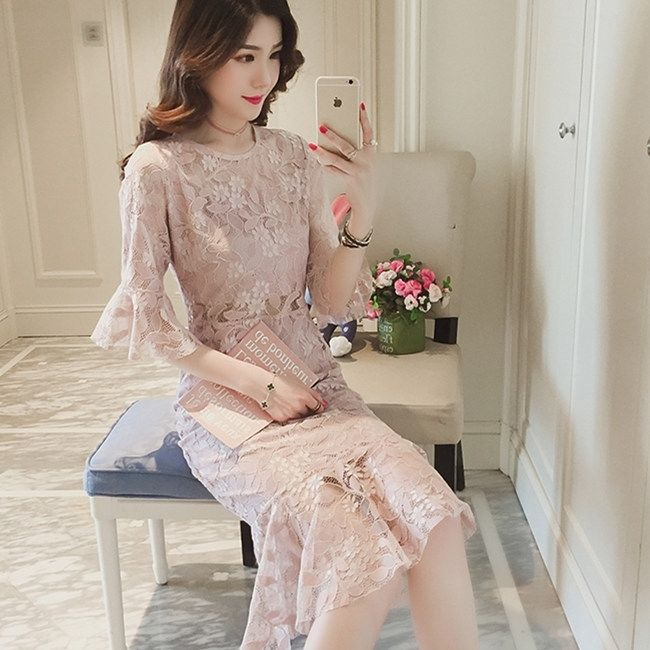 3603913659 - đầm ren hoa tay loe thời trang dành cho nữ