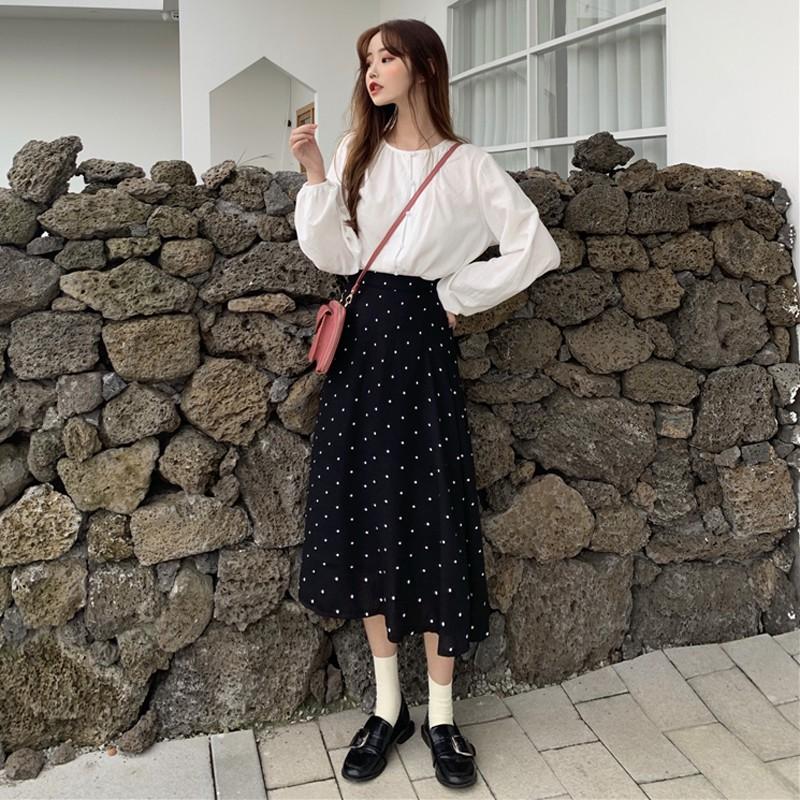 Chân Váy Dài Lưng Cao Họa Tiết Chấm Bi Thời Trang Mùa Thu Hàn Quốc