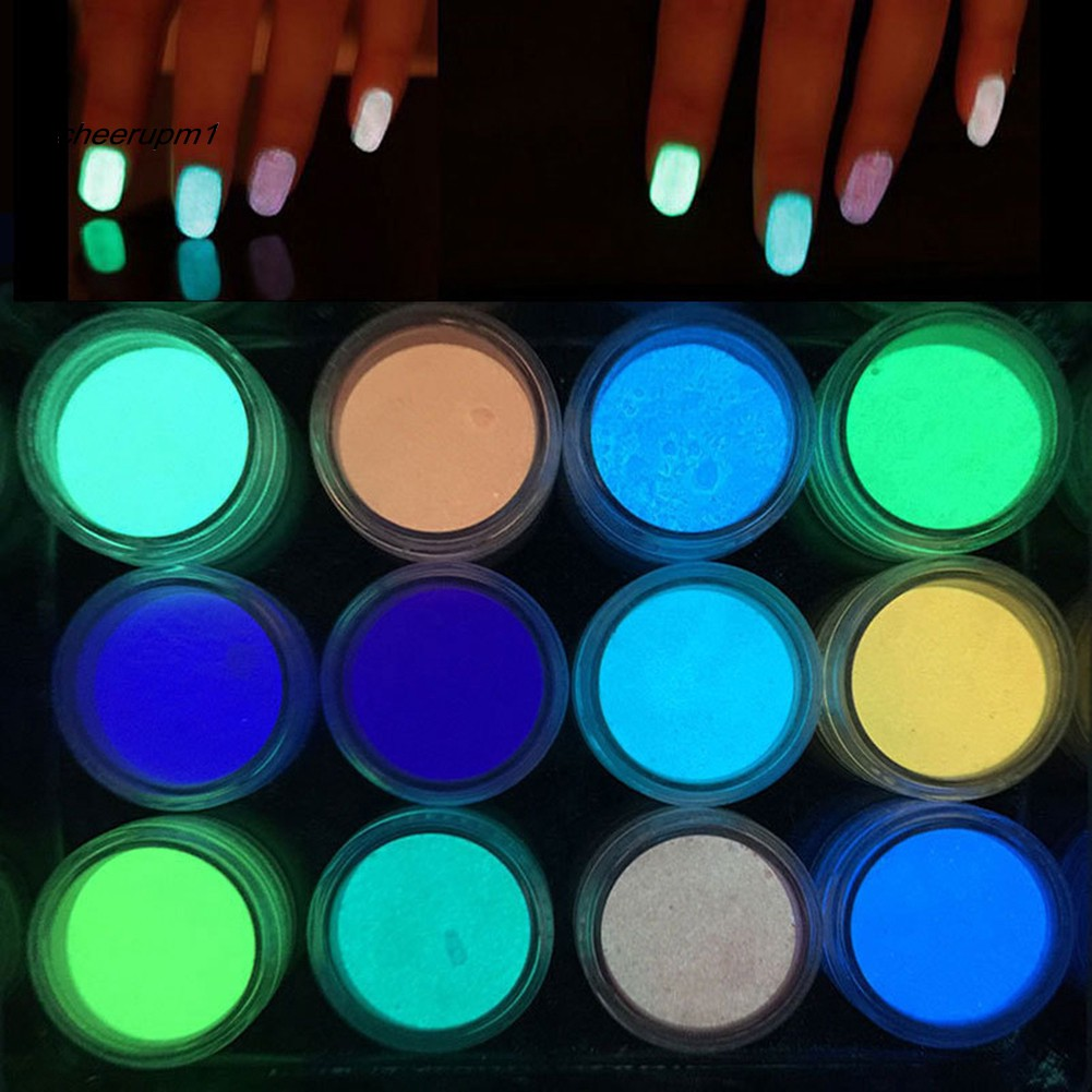 CEUP_2g Mirror Effect Luminous Nail Powder Fluorescent Glitters Manicure Pigment