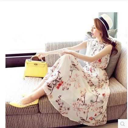 đầm dài không tay in hoa thời trang nữ tính