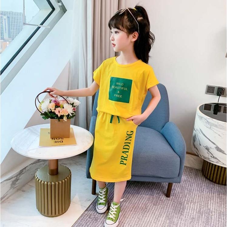 Set Áo Thun Ngắn Tay + Chân Váy Thời Trang Mẫu 2020 Dành Cho Bé Gái