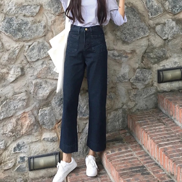 Quần jean lưng cao phong cách Hàn Quốc