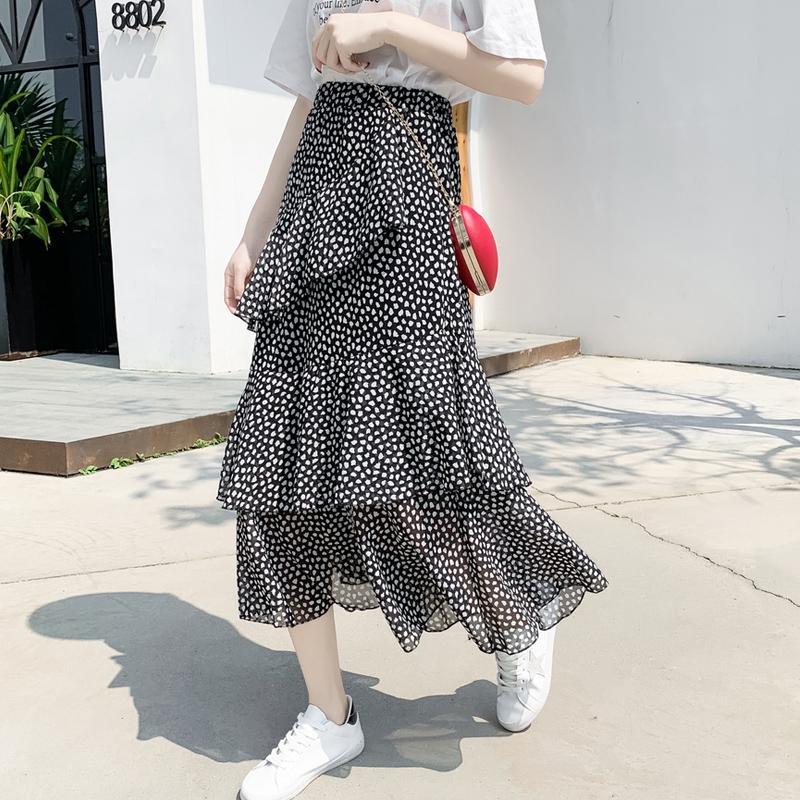 Chân Váy Lưng Cao Họa Tiết Chấm Bi Thời Trang Hàn Quốc