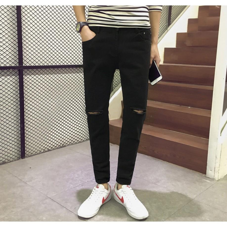 Quần jeans nam rách gối, chất liệu jeans thô, hàng nhập Quảng Châu