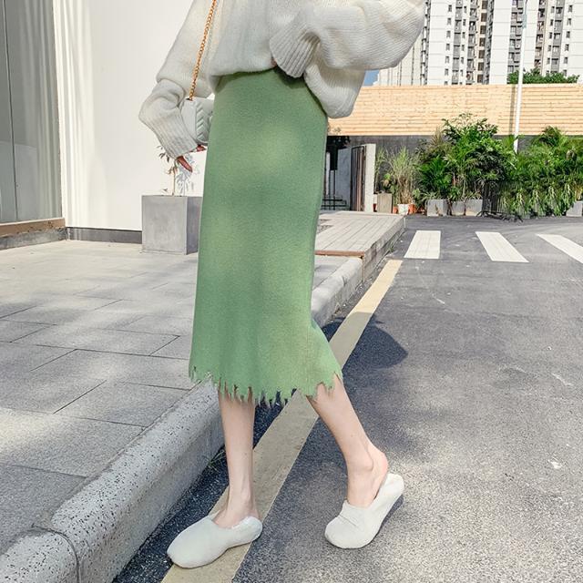 Chân Váy Len Lưng Cao Phối Tua Rua Đơn Giản Xinh Xắn Cho Nữ