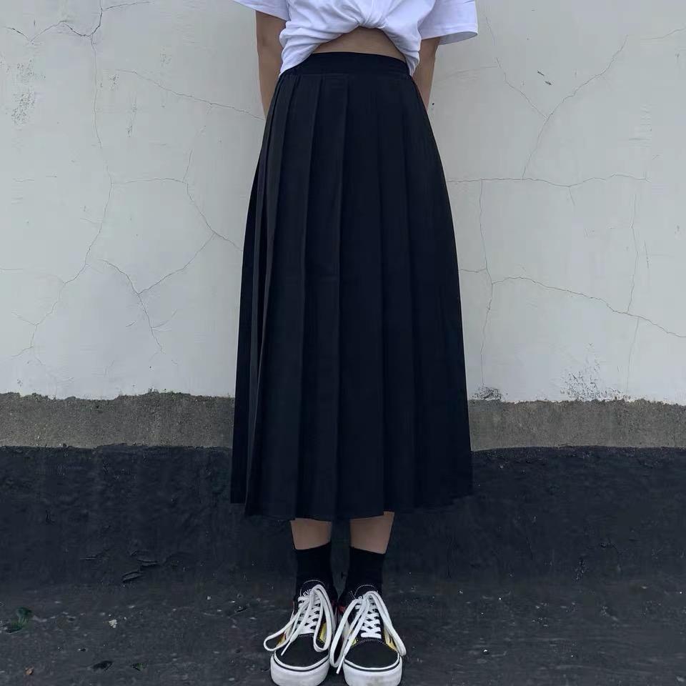 Chân Váy Chữ A Xếp Ly Phong Cách Nhật Bản Xinh Xắn Cho Nữ
