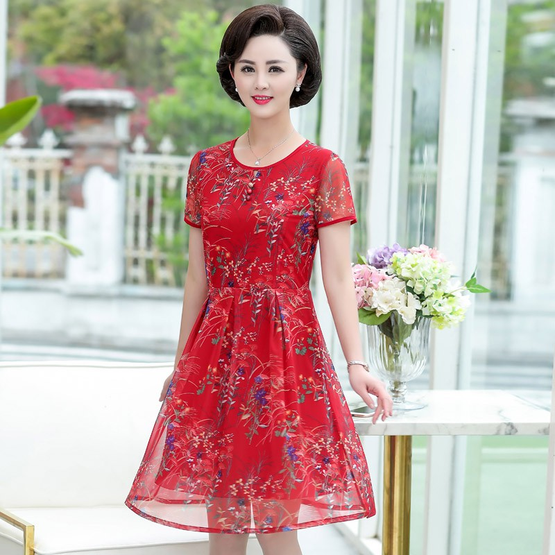 TN012 đầm váy trung niên sang chảnh
