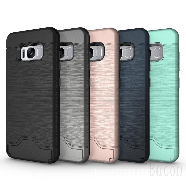 Samsung Shockproof Brushed Card Pocket Hybrid Kickstand Protective Case Cover 504