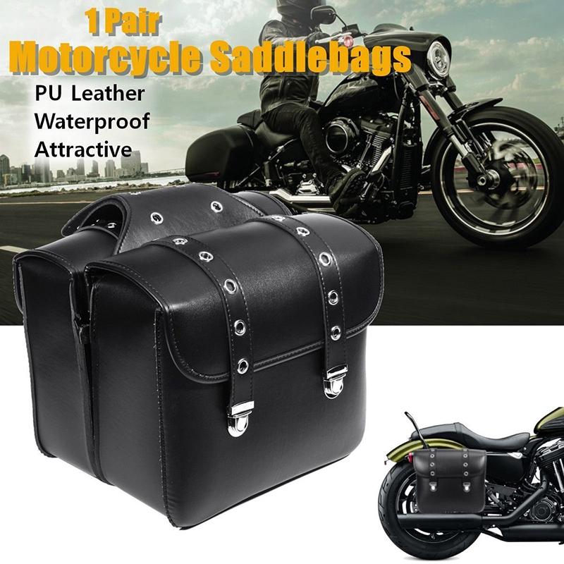 Black Motor PU Leather Side Bag Saddle Bags For Harley Sportster XL883 XL1200