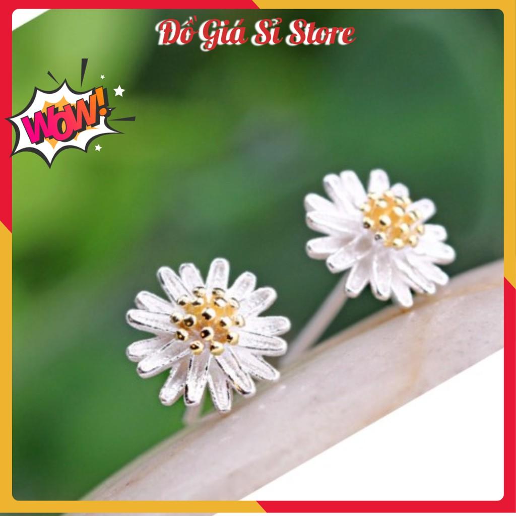 Bông tai bạc hoa cúc nhiều cánh Hàn Quốc