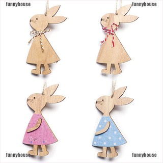 [Available]Cute Easter Rabbit Wooden Decoration DIY Wood Crafts Easter Party Supplies