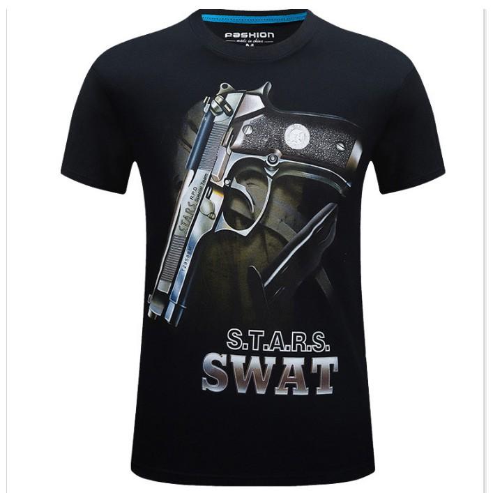 Áo phông áo thun mùa hè in 3D Star Swat màu đen hoạt tiết nổi bật độc lạ chất vải mát size đến 5XL cho nam 100kg