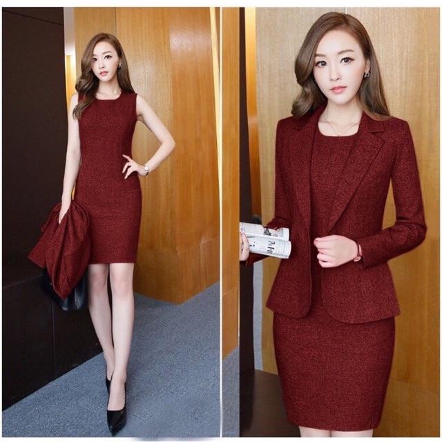 Sale Set vest công sở đầm và áo khoác Size xl xxl
