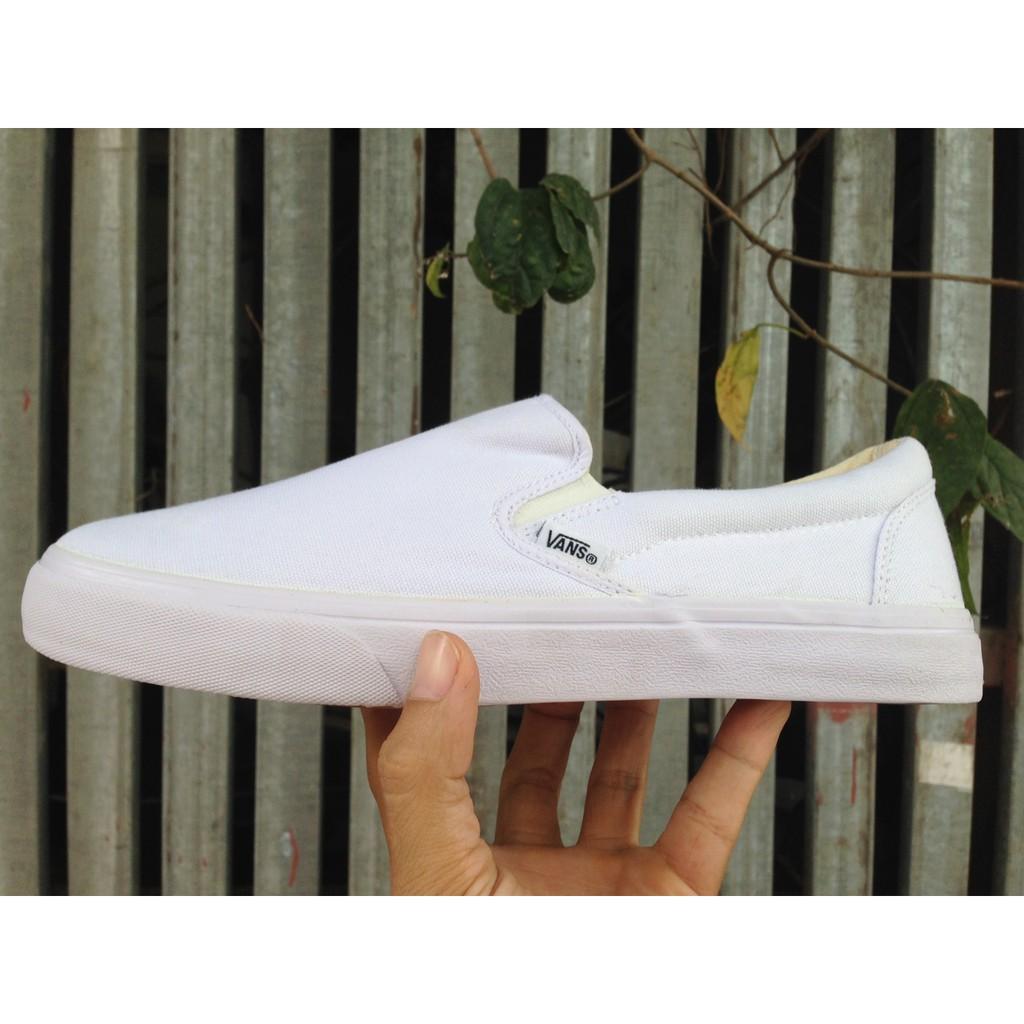[FREE SHIP + KÈM HỘP] Giày Vans Classic lười màu all white full trắng