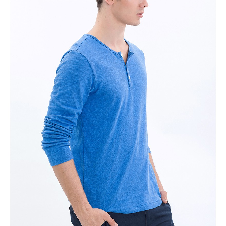 Áo thun nam The Cosmo Long sleeve henley màu xanh TC1021009CO
