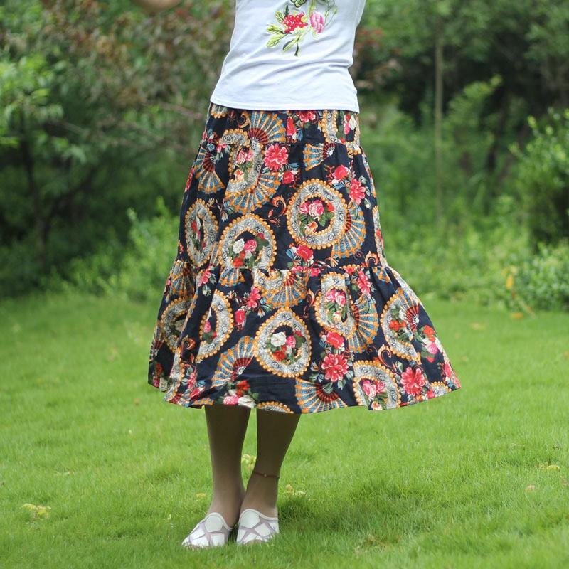 Chân Váy Dài Lưng Thun Họa Tiết Thổ Cẩm Thời Trang Cho Nữ