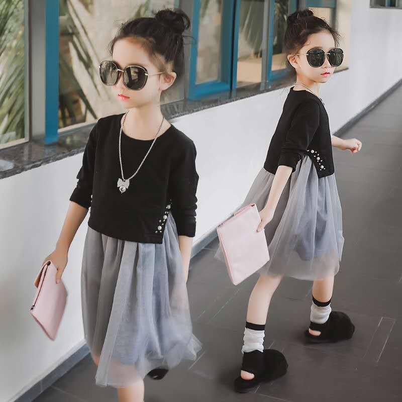 Set Áo Sơ Mi Tay Dài Đính Hạt + Chân Váy Lưới Nữ Tính Trẻ Trung Hợp Thời Trang 2020