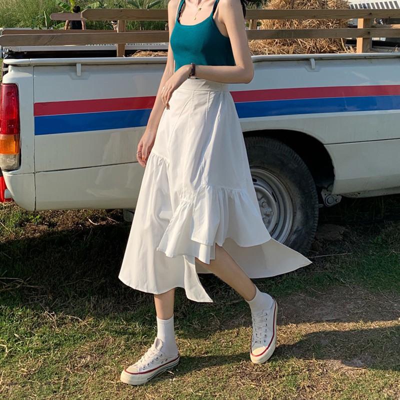 (ORDER) Chân váy cạp cao xòe dài đuôii cá thiết kế không đều độc đáo style vintage cá tính