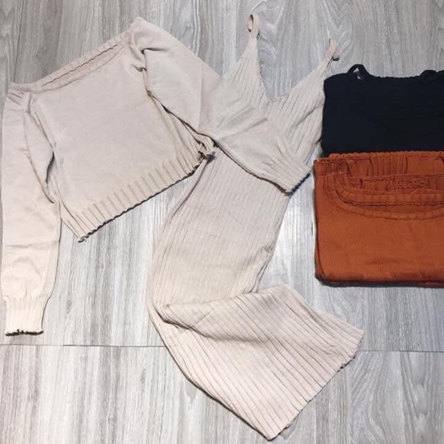 Set đầm len + khoác