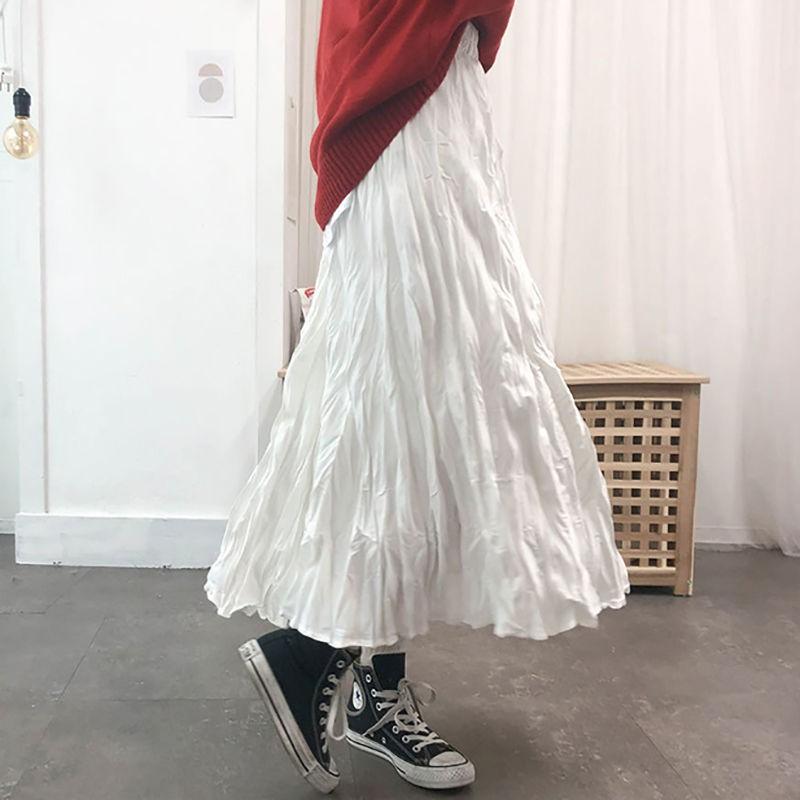 Chân váy chữ A xếp ly dáng dài eo co giãn trẻ trung hợp thời trang cho bạn gái