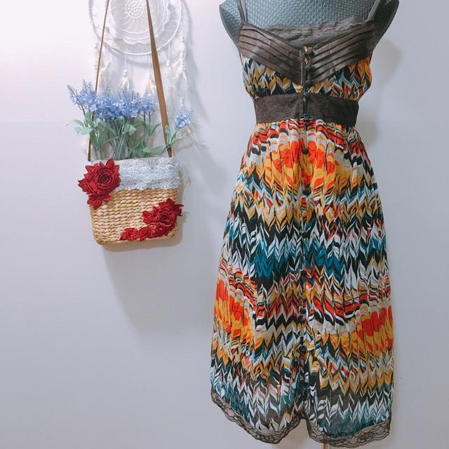 Đầm 2 dây hoạ tiết kèm đầm lót chất dày mát đẹp vintage