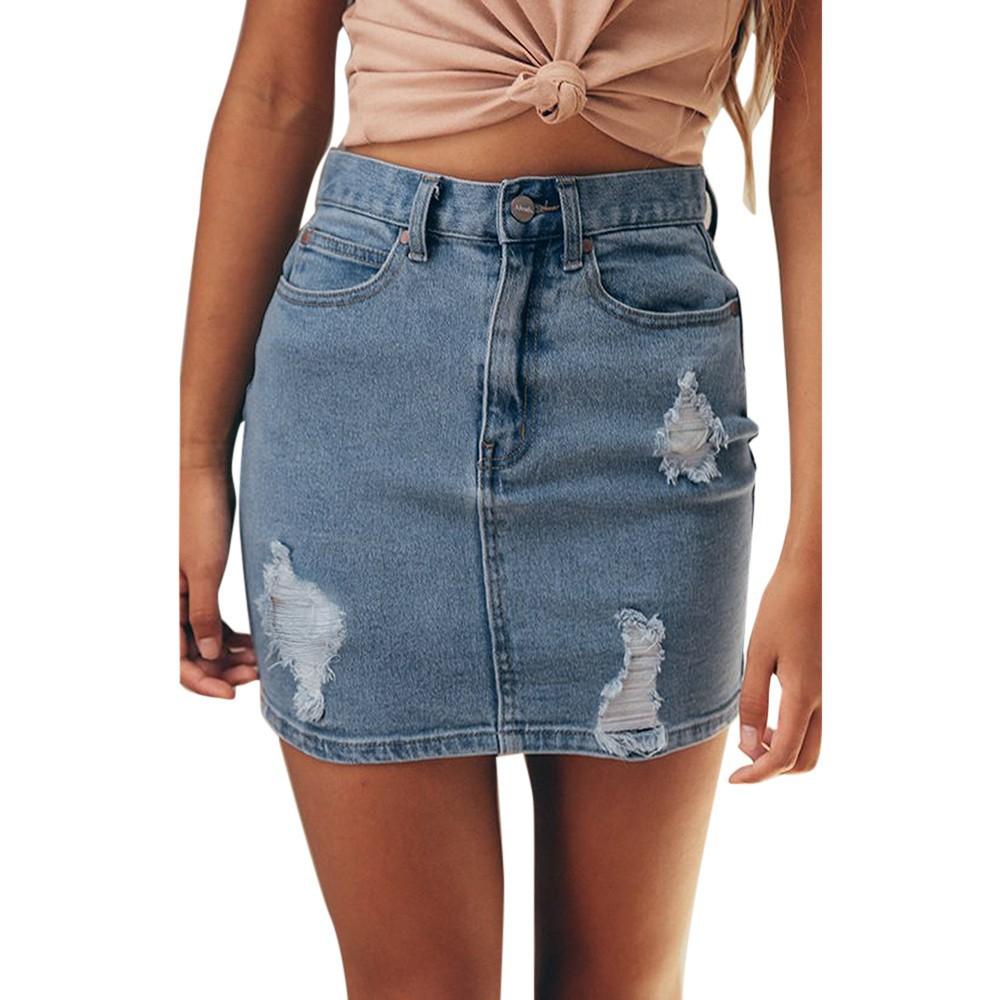 Chân Váy Jean Ngắn Đính Nút Thời Trang Cho Nữ