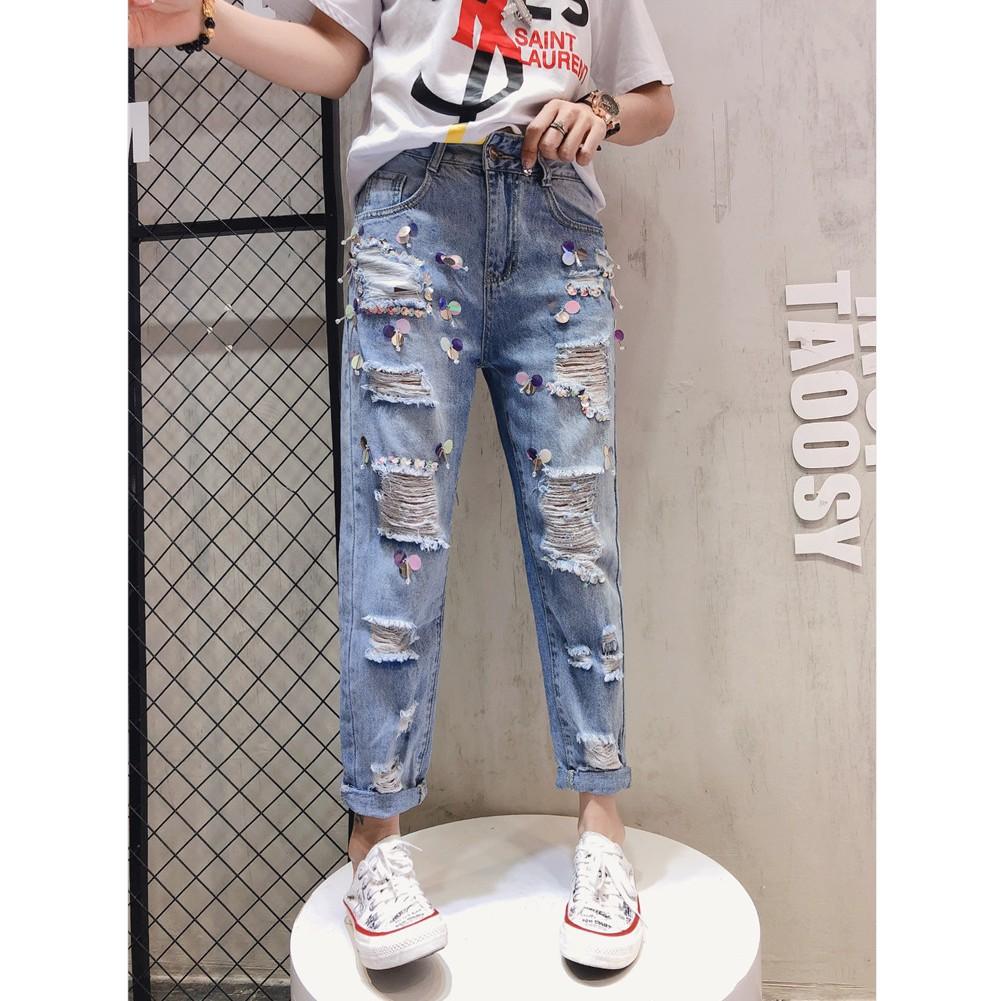 quần jeans nữ lưng cao phong cách phương tây