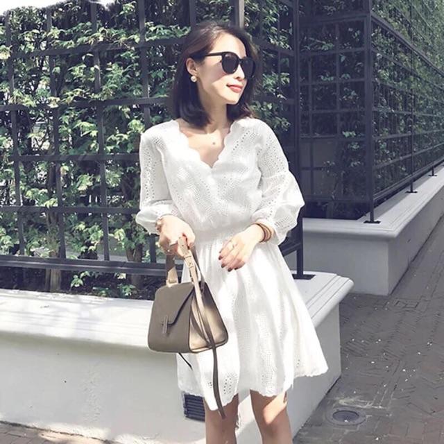 Combo váy ren lỗ + quần jean
