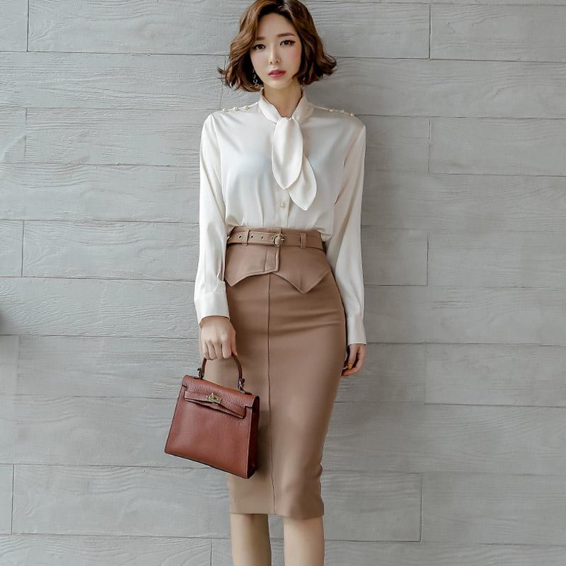 Set Áo Sơ Mi Tay Dài Thắt Nơ + Chân Váy Ngắn Phong Cách Hàn Quốc Cho Nữ