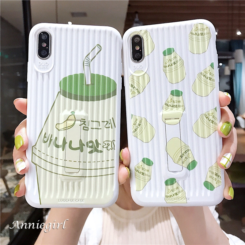 Hình ảnh Japan Cute Banana Drink Yakult Invisible Stand Holder Luggage Suitcase Soft TPU Case for IPhone Xs Max XR 6s 8 7 Plus