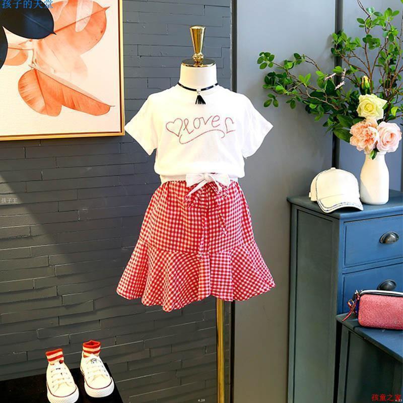 Set Áo Thun Thắt Nơ + Chân Váy Kẻ Ca Rô Cho Bé Gái