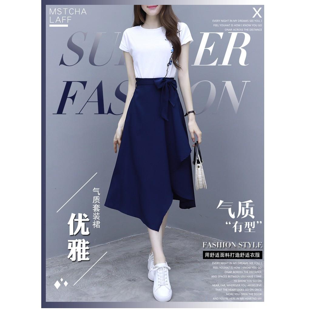 Bộ Áo Thun Ngắn Tay + Chân Váy Xinh Xắn Theo Phong Cách Mùa Hè 2020