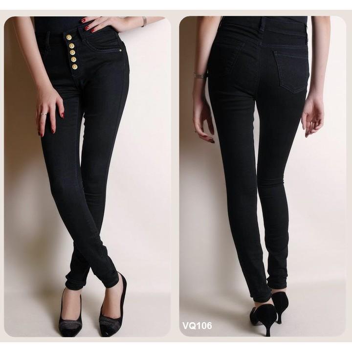 Quần jean đen lưng cao 5 nút, size 26,27,28