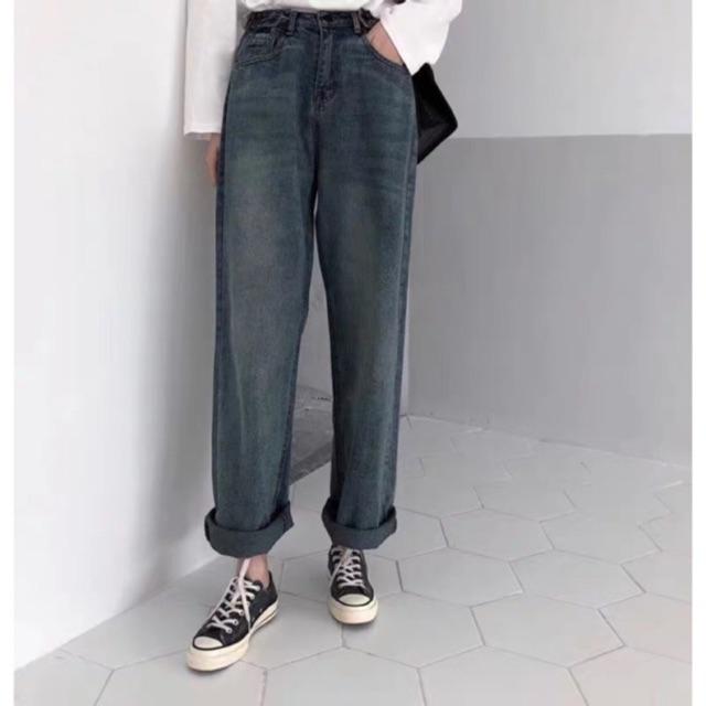 SẴN/ ORDER Quần Jeans ống rộng gập gấu/ Quần Baggy Mom Jeans ulzzang kenkentui -kenkentui